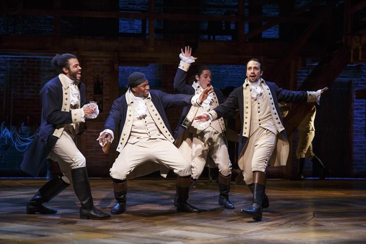 Hamilton: Daveed Diggs, Okieriete Onaodowan, Anthony Ramos, and Lin-Manuel Miranda in Hamilton - Photo Joan Marcus