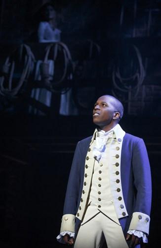 Hamilton Broadway - Leslie Odom, Jr as Aaron Burr. Photo Joan Marcus