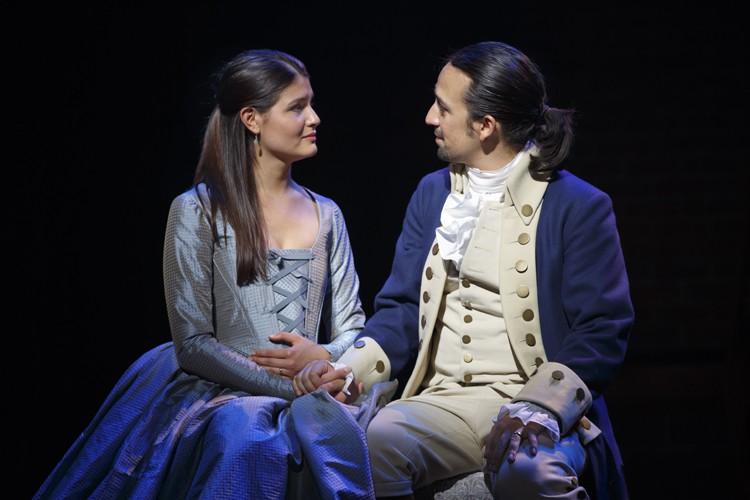 Hamilton Broadway - Phillipa Soo and Lin-Manuel Miranda. Photo Joan Marcus