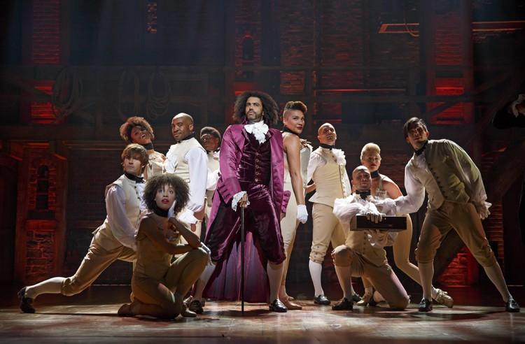 Hamilton Broadway - Daveed Diggs as Thomas Jefferson and ensemble. Photo Joan Marcus