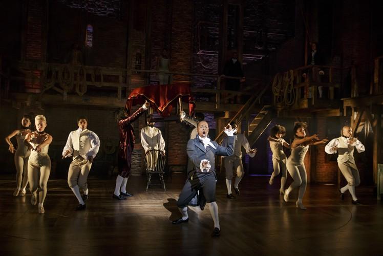 Hamilton Broadway - Leslie Odom, Jr and the cast of Hamilton. Photo Joan Marcus