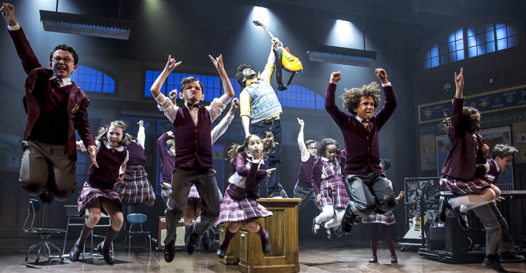 Alex Brightman (centre) and the kids of School of Rock - The Musical Photo by Matthew Murphy