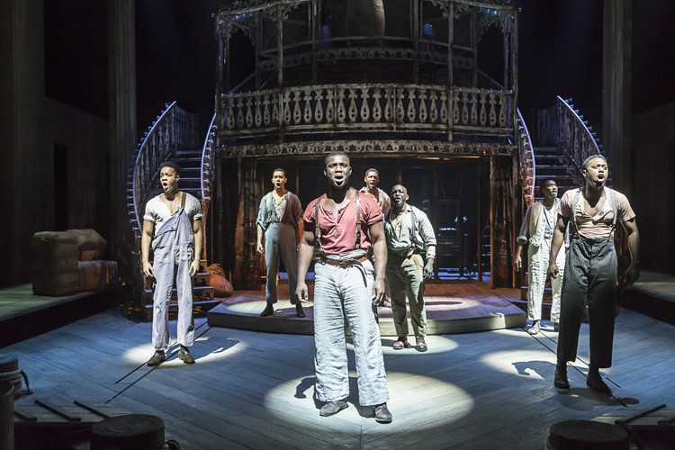 SHOW BOAT by Hammerstein, Emmanuel Kojo; Sandra Marvin, Writer - Oscar Hammerstein II, Director - Daniel Evans, Designer - Lez Brotherstoni, Lighting - David Hersey, Choreographer - Alistair David, Music - David White, The New London Theatre, London,, UK, 2016, Credit - Johan Persson