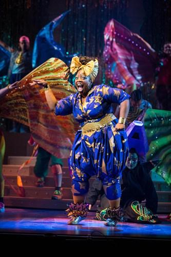 Malinda Parris as Genie in Aladdin at Lyric Hammersmith Photo by Helen Murray