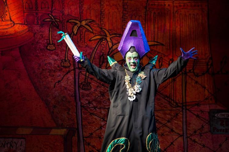 Vikki Stone as Abanazer in Aladdin Lyric Hammersmith - Photo by Helen Murray