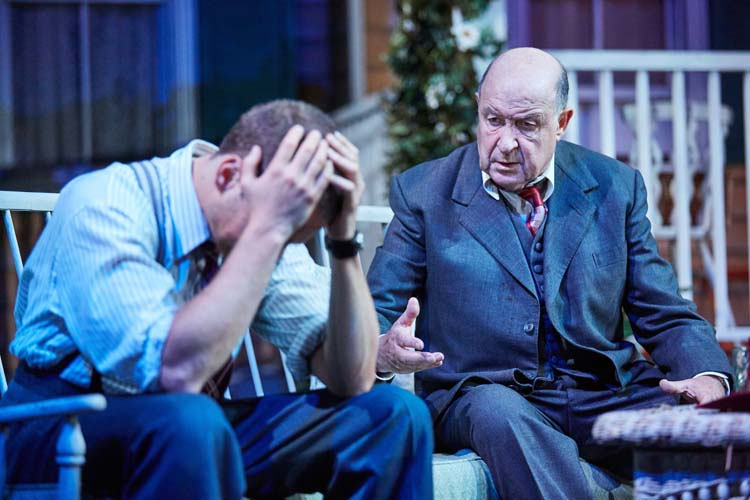 All My Sons at the Rose Theatre, Kingston. Alex Waldmann (Chris Keller) and David Horovitch (Joe Keller). Photo by Mark Douet