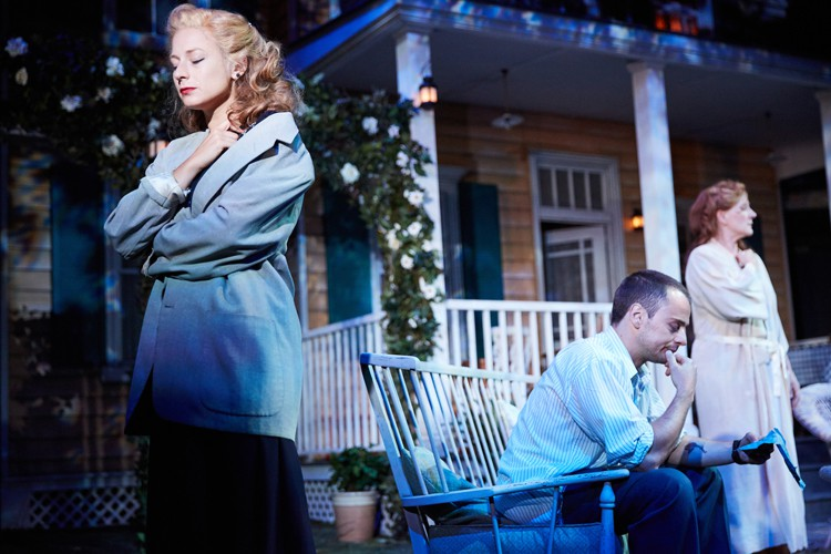 All My Sons at the Rose Theatre, Kingston. Francesca Zoutewelle (Ann Deever), Alex Waldmann (Chris Keller) and Penny Downie (Kate Keller). Photo by Mark Douet.
