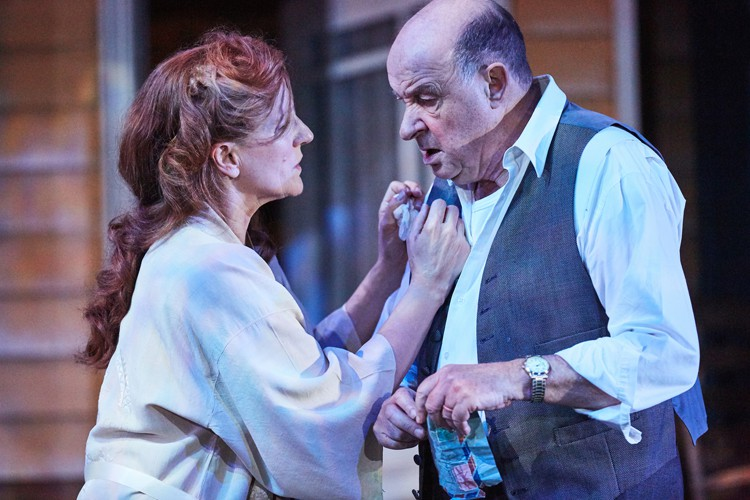 All My Sons at the Rose Theatre, Kingston. Penny Downie (Kate Keller) and David Horovitch (Joe Keller). Photo by Mark Douet.