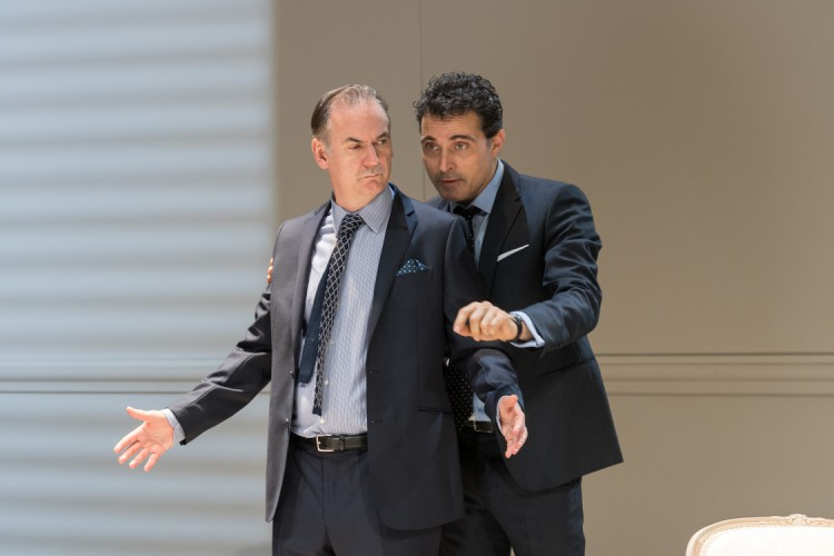 Paul Ritter (Marc) and Rufus Sewell (Serge), Art at The Old Vic. Photo by Manuel Harlan