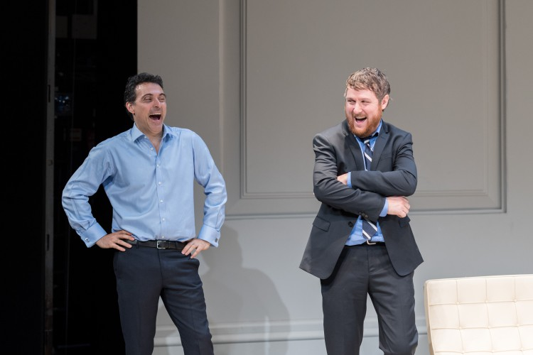 Rufus Sewell (Serge) and Tim Key (Yvan), Art at The Old Vic. Photo by Manuel Harlan