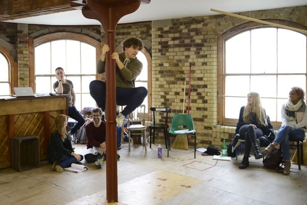 Barnum rehearsal photograph 063, Dominic Owen and the company of Barnum © Nobby Clark