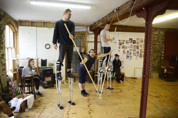 Barnum rehearsal photograph 086, l-r Preston Jamieson, Harry Francis and Danny Collins © Nobby Clark