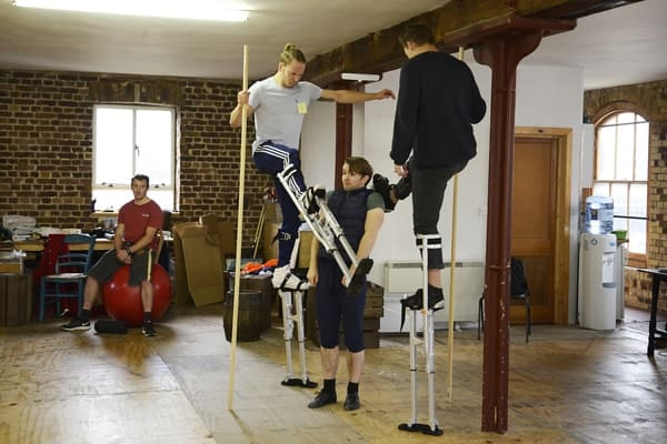 Barnum rehearsal photograph 089, l-r Philip Marriott, Owen Winship, Harry Francis and Danny Collins © Nobby Clark