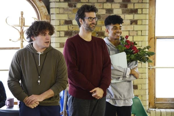 Barnum rehearsal photograph 120, l-r Dominic Owen, Marcus Brigstocke and Ainsley Hall Ricketts © Nobby Clark
