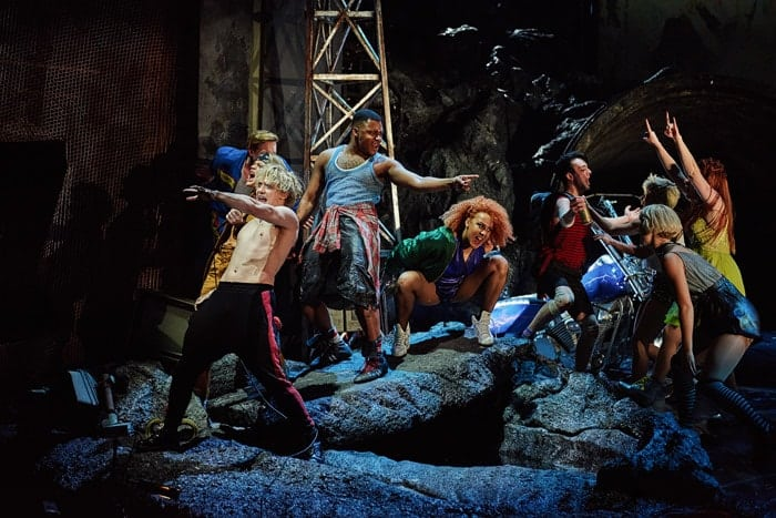 Andrew Polec as Strat and the cast of BAT OUT OF HELL - THE MUSICAL, credit Specular