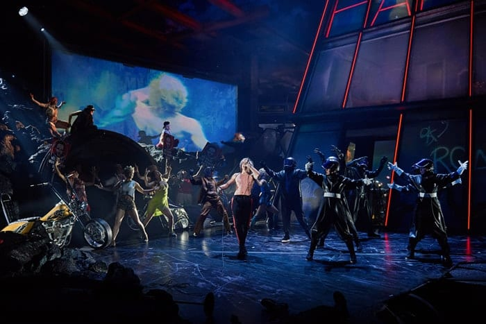 Andrew Polec as Strat (centre) in BAT OUT OF HELL - THE MUSICAL, credit Specular