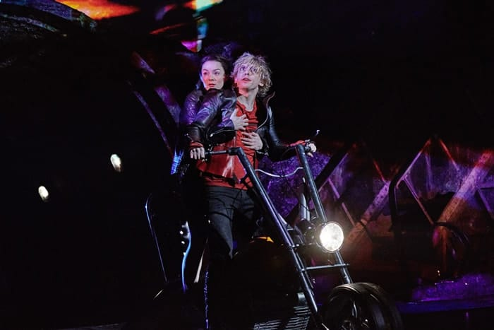 Christina Bennington as Raven & Andrew Polec as Strat in BAT OUT OF HELL - THE MUSICAL, credit Specular