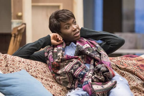 Faith Alabi (Amina) in rehearsals for Belleville at the Donmar Warehouse, directed by Michael Longhurst. Photo Marc Brenner