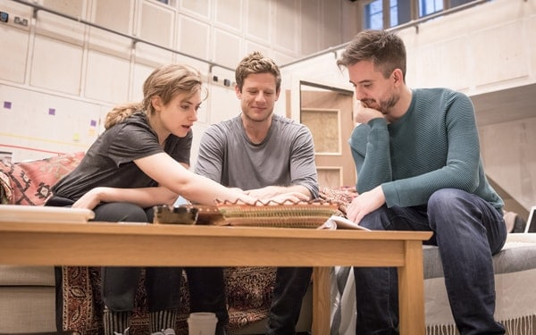 Imogen Poots (Abby), James Norton (Zack) and director Michael Longhurst in rehearsals for Belleville at the Donmar Warehouse. Photo Marc Brenner
