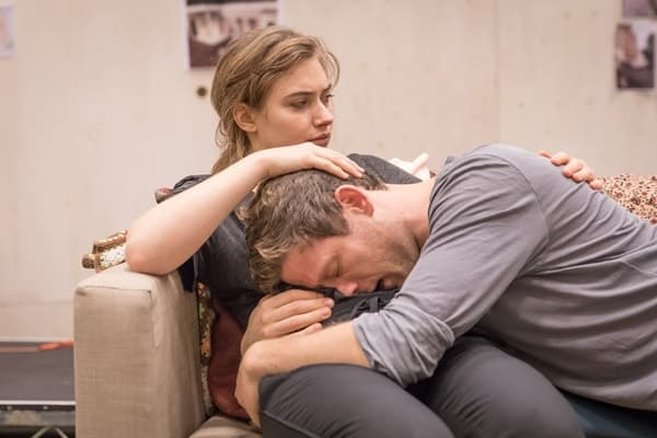 Imogen Poots (Abby) and James Norton (Zack) in rehearsals for Belleville at the Donmar Warehouse, directed by Michael Longhurst. Photo Marc Brenner