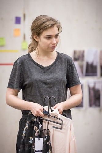 Imogen Poots (Abby) in rehearsals for Belleville at the Donmar Warehouse, directed by Michael Longhurst. Photo Marc Brenner