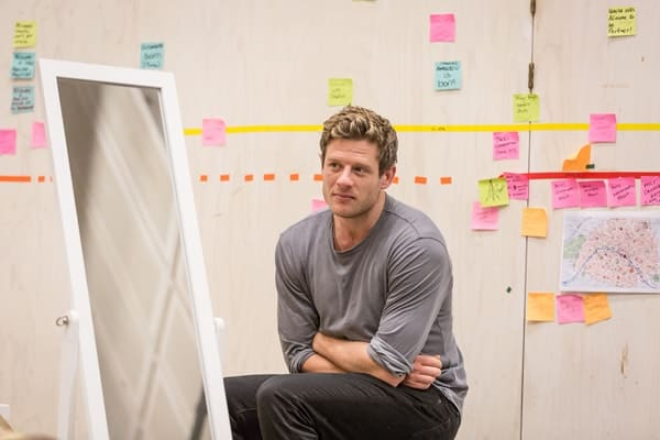 James Norton (Zack) in rehearsals for Belleville at the Donmar Warehouse, directed by Michael Longhurst. Photo Marc Brenner