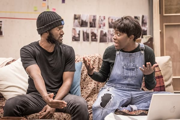 Malachi Kirby (Alioune) and Faith Alabi (Amina) in rehearsals for Belleville at the Donmar Warehouse, directed by Michael Longhurst. Photo Marc Brenner