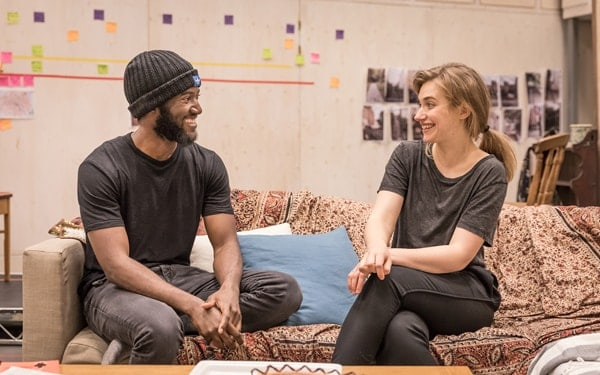 Malachi Kirby (Alioune) and Imogen Poots (Abby) in rehearsals for Belleville at the Donmar Warehouse, directed by Michael Longhurst. Photo Marc Brenner