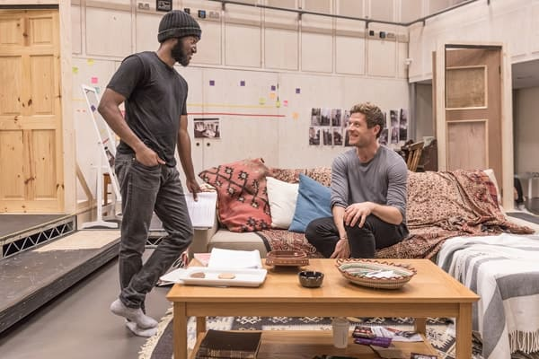 Malachi Kirby (Alioune) and James Norton (Zack) in rehearsals for Belleville at the Donmar Warehouse, directed by Michael Longhurst. Photo Marc Brenner