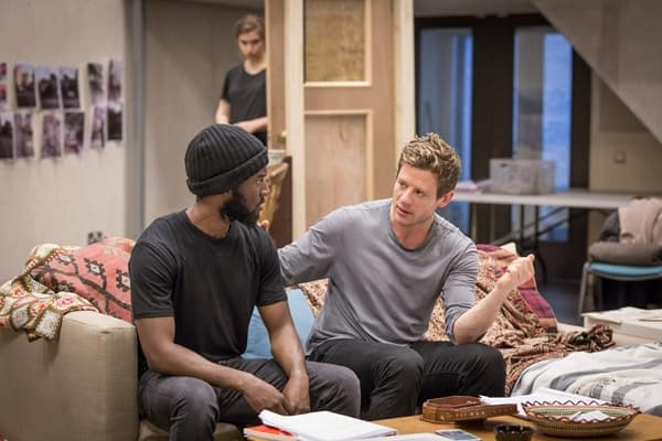 Malachi Kirby (Alioune) and James Norton (Zack) in rehearsals for Belleville at the Donmar Warehouse. Photo Marc Brenner