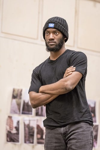 Malachi Kirby (Alioune) in rehearsals for Belleville at the Donmar Warehouse, directed by Michael Longhurst. Photo Marc Brenner