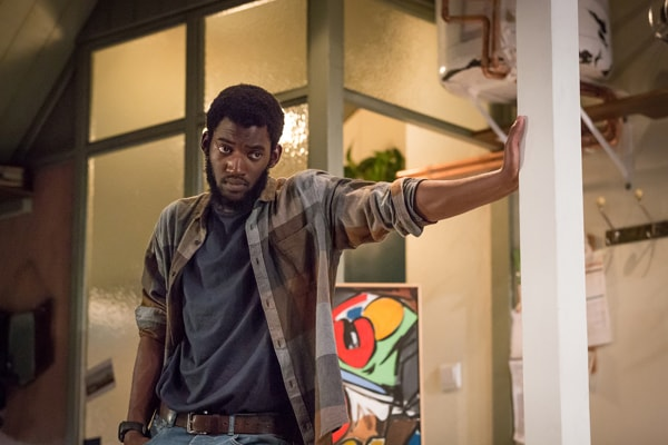 Malachi Kirby (Alioune) in Belleville at the Donmar Warehouse, directed by Michael Longhurst, designed by Tom Scutt. Photo by Marc Brenner
