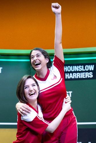 Lauren Samuels (Jules) and Natalie Dew (Jess) in Bend It Like Beckham The Musical. Photo credit Ellie Kurttz