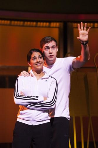 Natalie Dew (Jess) and Jamie Muscato (Joe) in Bend It Like Beckham The Musical. Photo credit Ellie Kurttz