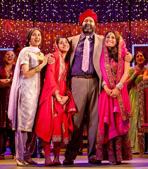 Natasha Jayetileke (Mrs Bhamra), Natalie Dew (Jess), Tony Jayawardena (Mr Bhamra) and Preeya Kalidas (Pinky) in Bend It Like Beckham The Musical. Photo credit Ellie Kurttz