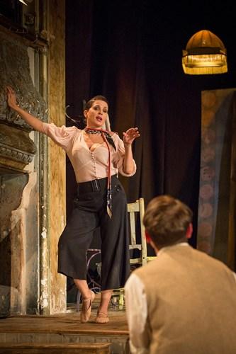 Britten in Brooklyn - Sadie Frost (Gypsy Rose Lee) and Ryan Sampson (Benjamin Britten) Photo Marc Brenner