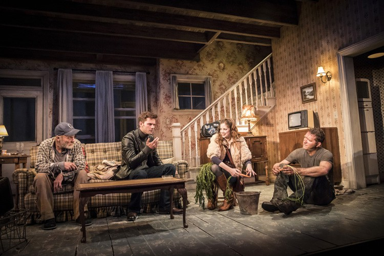 L-R Ed Harris, Jeremy Irvine, Charlotte Hope & Barnaby Kay in Buried Child, Trafalgar Studios, photo Johan Persson