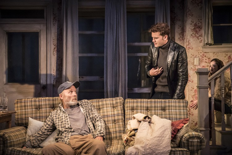 L-R Ed Harris, Jeremy Irvine & Charlotte Hope in Buried Child, Trafalgar Studios, Photo Johan Persson