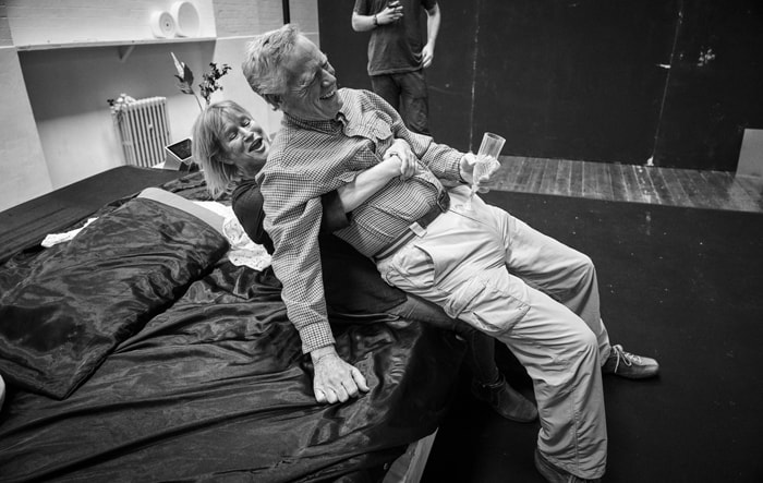 Lisa Palfrey and Michael J Shannon in rehearsals for Cat on a Hot Tin Roof. Photo by Charlie Gray
