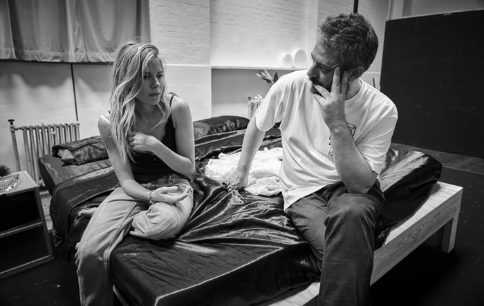 Sienna Miller and Benedict Andrews in rehearsal for Cat on a Hot Tin Roof. Photo by Charlie Gray