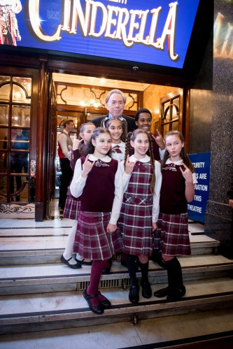 Andrew Lloyd Webber and kids from the cast of School of Rock The Musical at the Opening Night of Cinderella at the London Palladium - Photo credit Craig Sugden