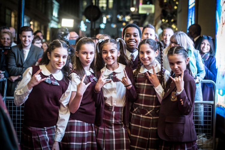 Kids from the cast of School of Rock The Musical at the Opening Night of Cinderella at the London Palladium - Photo credit Craig Sugden