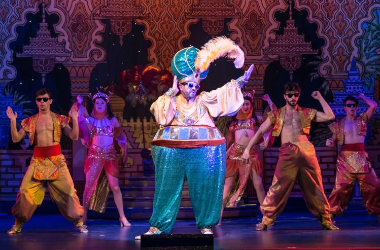 Paul Baker as Sultan and ensemble, Dick Whittington, credit Darren Bell