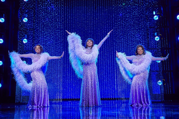 (l-r) Ibinabo Jack, Liisi LaFontaine and Amber Riley in Dreamgirls at the Savoy Theatre. Credit Brinkhoff & Magenburg