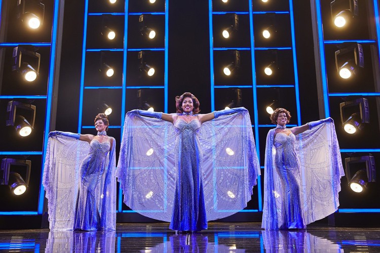 (l-r) Lily Frazer, Liisi LaFontaine and Ibinabo Jack in Dreamgirls at the Savoy Theatre. Credit Brinkhoff & Magenburg