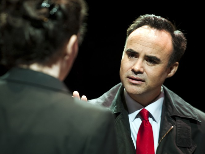 Joseph Balderrama and Anne Adams in DRONES, BABY, DRONES at Arcola Theatre. Written by David Greig, Ron Hutchinson and Christina Lamb. Directed by Nicolas Kent and Mehmet Ergen. http://arco.la/drones Photography by Simon Annand