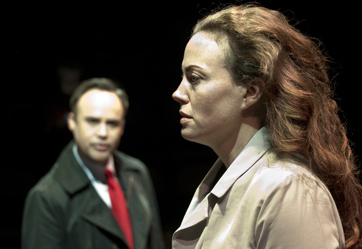 Anne Adams and Joseph Balderrama in DRONES, BABY, DRONES at Arcola Theatre. Written by David Greig, Ron Hutchinson and Christina Lamb. Directed by Nicolas Kent and Mehmet Ergen. http://arco.la/drones Photography by Simon Annand