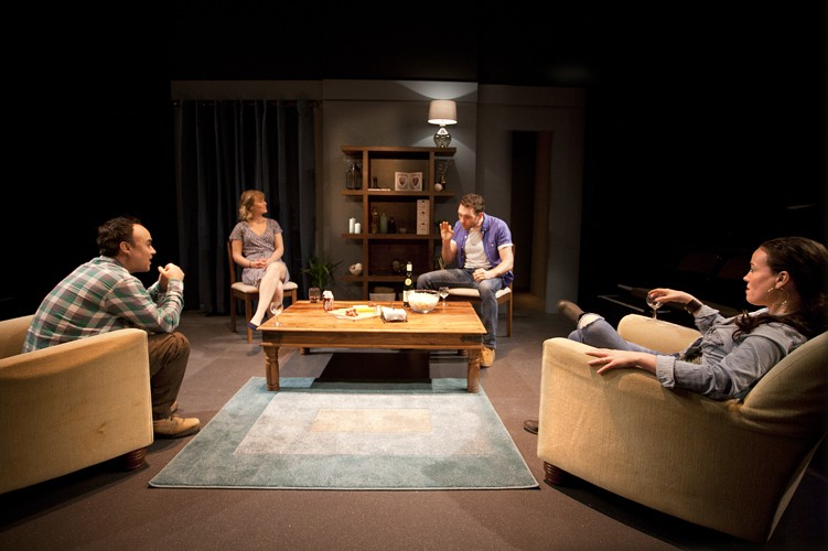 Joseph Balderrama, Rose Reynolds, Tom McKay and Anne Adams in DRONES, BABY, DRONES at Arcola Theatre. Written by David Greig, Ron Hutchinson and Christina Lamb. Directed by Nicolas Kent and Mehmet Ergen. http:// arco.la/drones Photography by Simon Annand