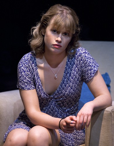 Rose Reynolds in DRONES, BABY, DRONES at Arcola Theatre. Written by David Greig, Ron Hutchinson and Christina Lamb. Directed by Nicolas Kent and Mehmet Ergen. http://arco.la/drones Photography by Simon Annand