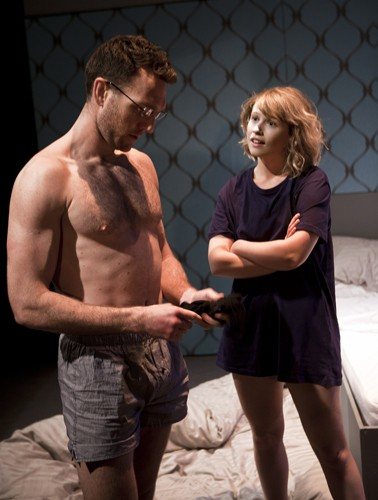 Tom McKay and Rose Reynolds in DRONES, BABY, DRONES at Arcola Theatre. Written by David Greig, Ron Hutchinson and Christina Lamb. Directed by Nicolas Kent and Mehmet Ergen. http://arco.la/drones Photography by Simon Annand